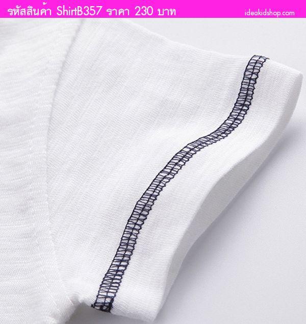 เสื้อยืดแฟชั่นเจ้าหนู Monster สีขาว