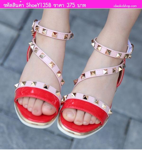 รองเท้ารัดส้นหนังแก้ว มีข้อ Valentino สีแดง