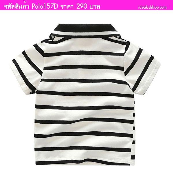 เสื้อยืดโปโลหนุ่มก็อตสุดเท่ ลายทาง สีขาวดำ