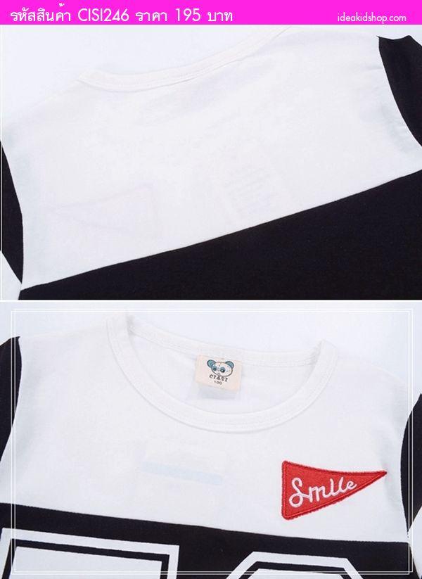 เสื้อยืดแฟชั่นแต่งแถบ Smile 58 สีขาวดำ