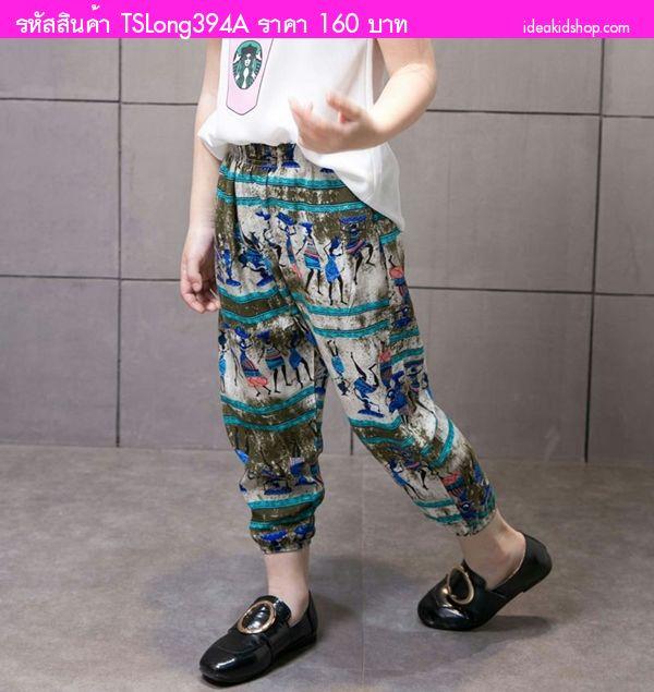 กางเกงเด็กเอวยางยืดขายาว ลายอียิปต์ โทนสีเขียว