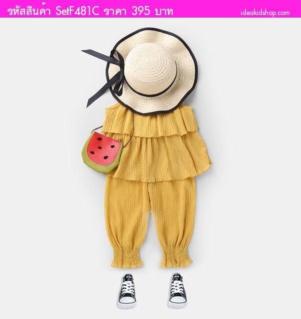 ชุดเสื้อกางเกงอัดพลีท หนูน้อยจีด้า สีเหลือง