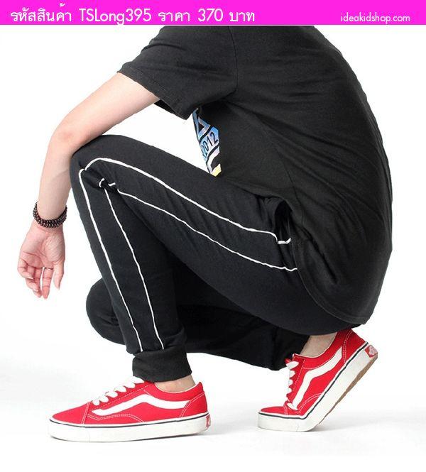 กางเกงสไตล์วอร์มแต่งแถบสีขาว Two Line สีดำ