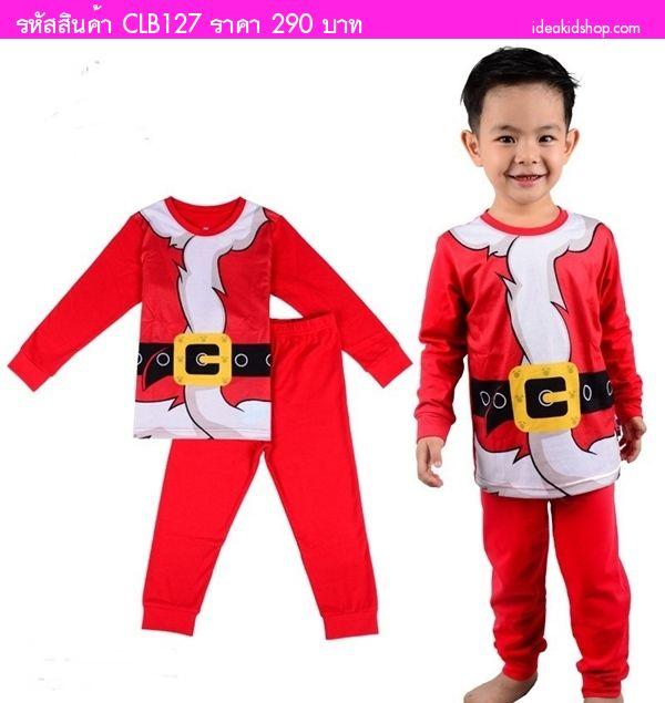 ชุดเสื้อกางเกง Xmas แต่งลายเข็มขัดซานต้า สีแดง