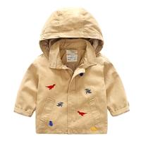 Jacket-มีฮู้ด-Embroidery-Dinosaurs-สีน้ำตาล
