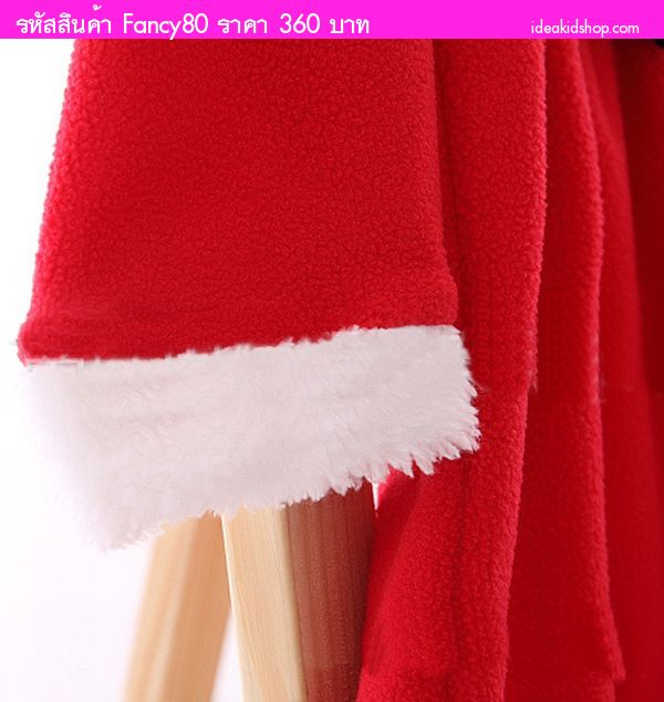 ชุดเดรสหนูน้อยลิซ Xmas แซนตี้ พร้อมหมวก สีแดงเข้ม