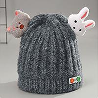 หมวกไหมพรม-กระต่ายน้อยและหมีจอมจุ้น-สีเทา