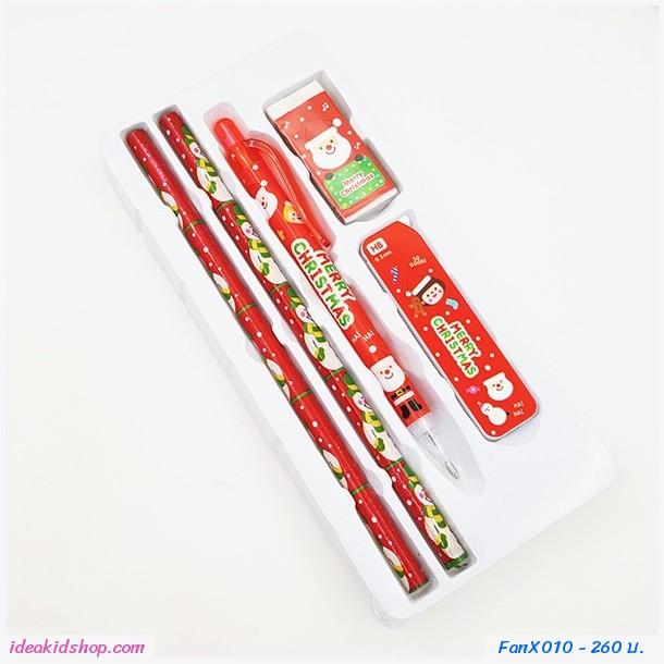 ชุดเครื่องเขียนดินสอ xmas สำหรับแจก(แพค 9 กล่อง)