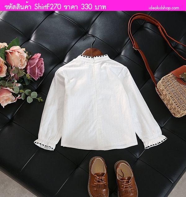เสื้อสไตล์เชิ้ตหนูน้อยโบว์วี่ สีขาว