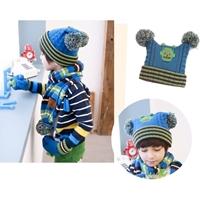 หมวกไหมพรม-พร้อมผ้าพันคอ-Mr.-Robot-สีน้ำเงิน