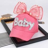 หมวกแก๊ปสไตล์สาวหวานแต่งมุกติดโบว์-Baby-สีชมพูเข้ม