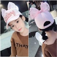 หมวกแก๊ปสไตล์สาวหวานแต่งมุกติดโบว์-Baby-สีชมพูอ่อน