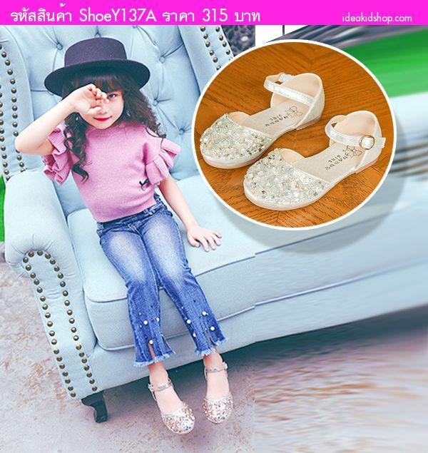 รองเท้ารัดส้นเด็กแต่งเพชรคริสตัล คุณหนูช่า สีเงิน