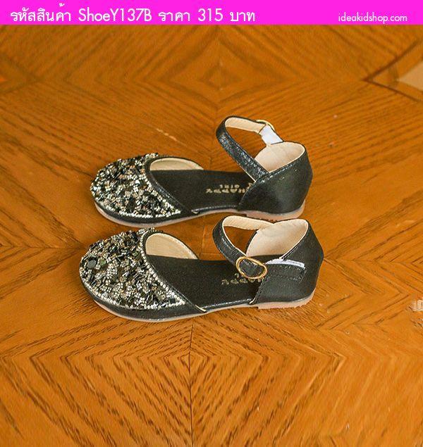 รองเท้ารัดส้นเด็กแต่งเพชรคริสตัล คุณหนูช่า สีดำ