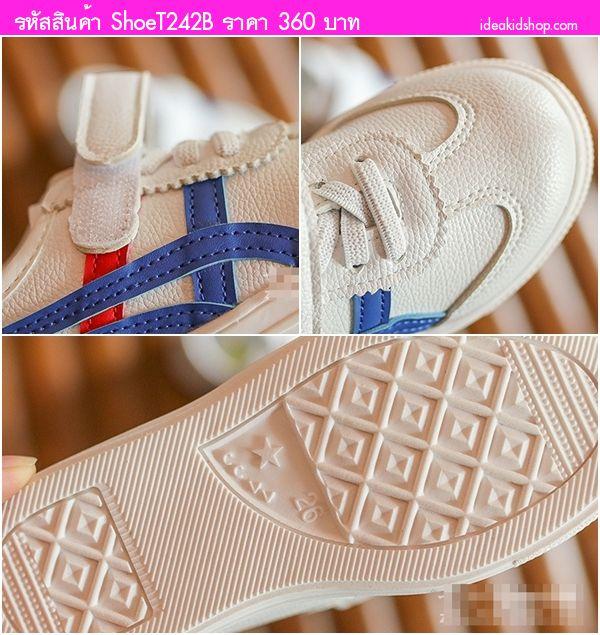 รองเท้าผ้าใบเด็กสไตล์โอนิ Star สีขาวทอง