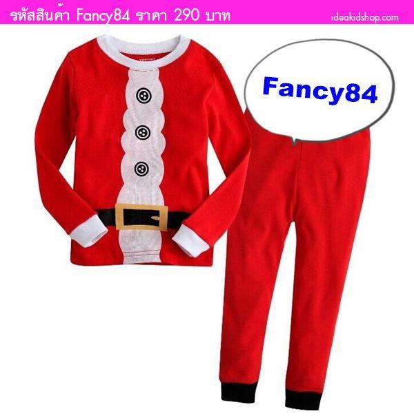 เสื้อและกางเกง Xmas Santa รัดเข็มขัด สีแดง