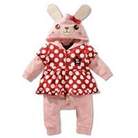บอดี้สูทแขนยาวเด็กหญิงมีฮู้ด-กระต่ายน้อย-สีชมพู