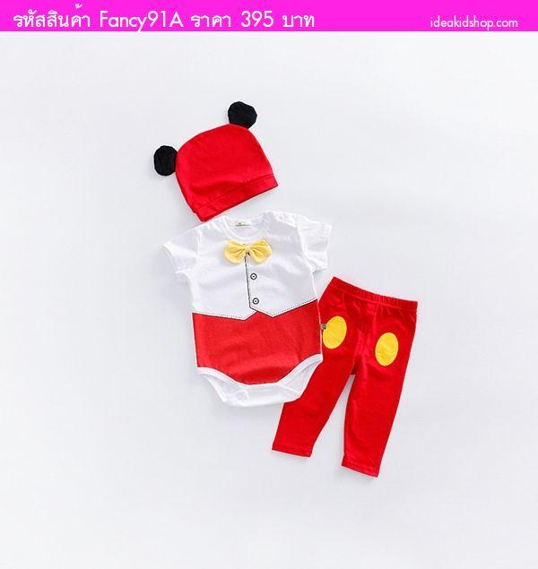 บอดี้สูท+เลกกิ้ง+หมวก Mickey Mouse สีแดงขาว(3ชิ้น)
