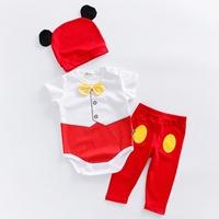บอดี้สูท_เลกกิ้ง_หมวก-Mickey-Mouse-สีแดงขาว(3ชิ้น)