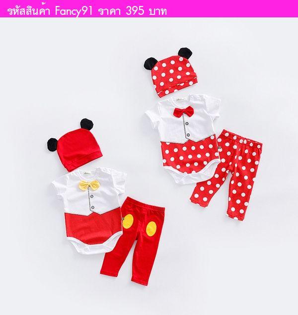 บอดี้สูท+เลกกิ้ง+หมวก Minnie Mouse สีแดงขาว(3ชิ้น)