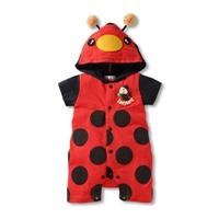 บอดี้สูทแขนสั้น-พร้อมฮู้ด-เต่าทอง-LadyBug-สีแดง