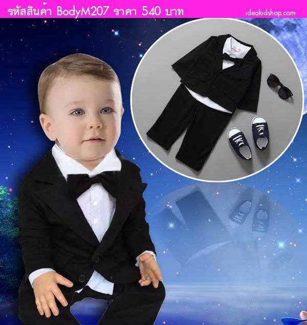 ชุดบอดี้สูท tuxedo suit หูกระต่าย สีดำ(3 ชิ้น)