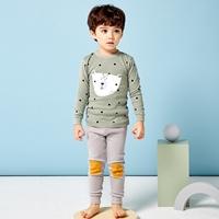 ชุดนอนเด็ก-เจ้าหมีหน้าขาว-ลายจุด-สีเขียวเทา
