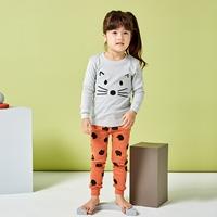 ชุดนอนเด็กแฟชั่น-เจ้าเหมียวน้อย-สีเทาส้ม