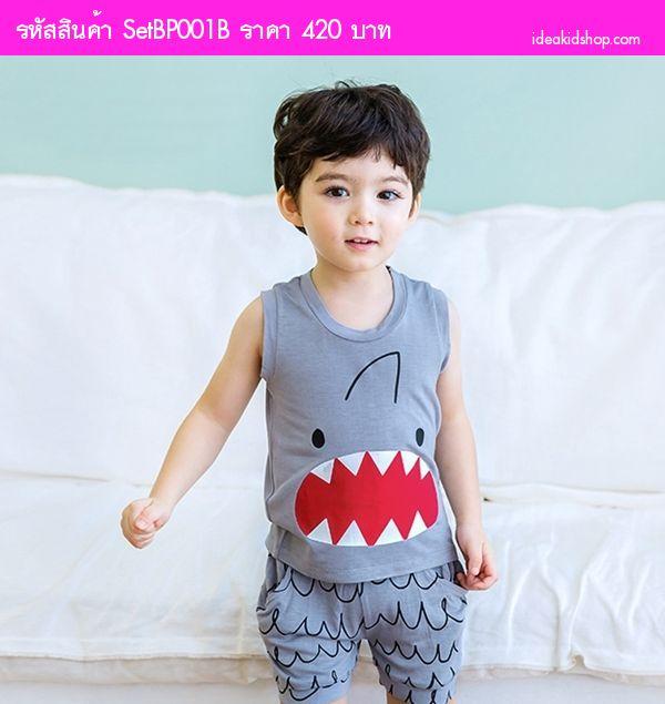 ชุดเสื้อกางเกงขาสั้น ฉลามจอมหิว สีเทา