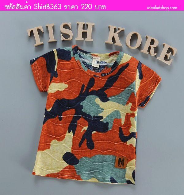 เสื้อยืดแฟชั่นสุดเท่ ลายทหาร โทนสีส้ม