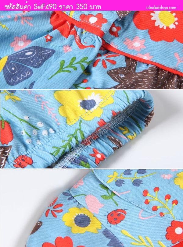 ชุดเดรสหนูน้อยซูซี่พร้อมกางเกงใน ลายดอกไม้และสัตว์