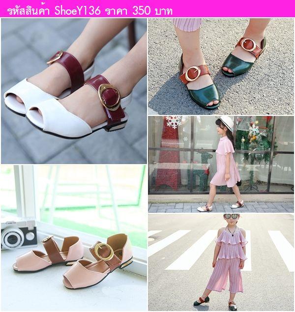 รองเท้าหนังรัดส้นคุณหนูจินจิน สีเขียว