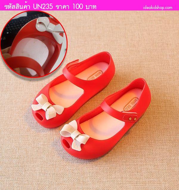 รองเท้าเด็กติดโบว์สุดเก๋ Mini Melissa สีแดง