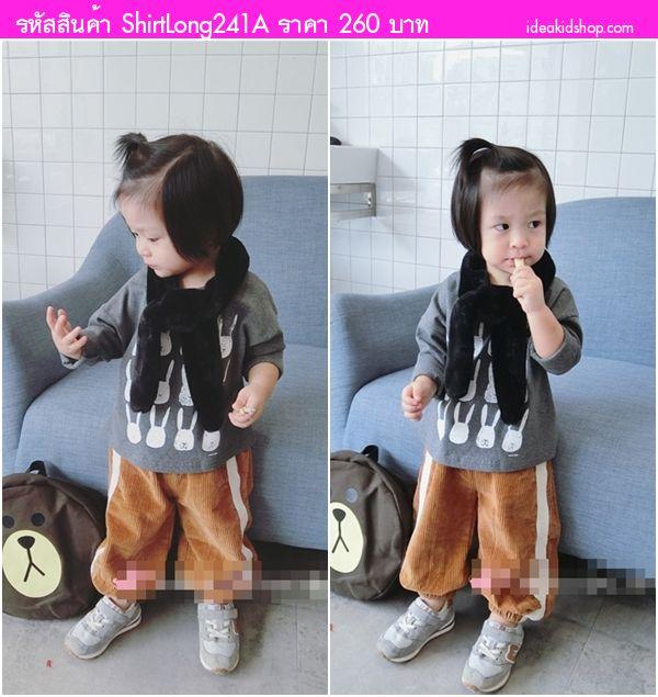 เสื้อแขนยาวแฟชั่นกระต่าย Moni Style สีเทา