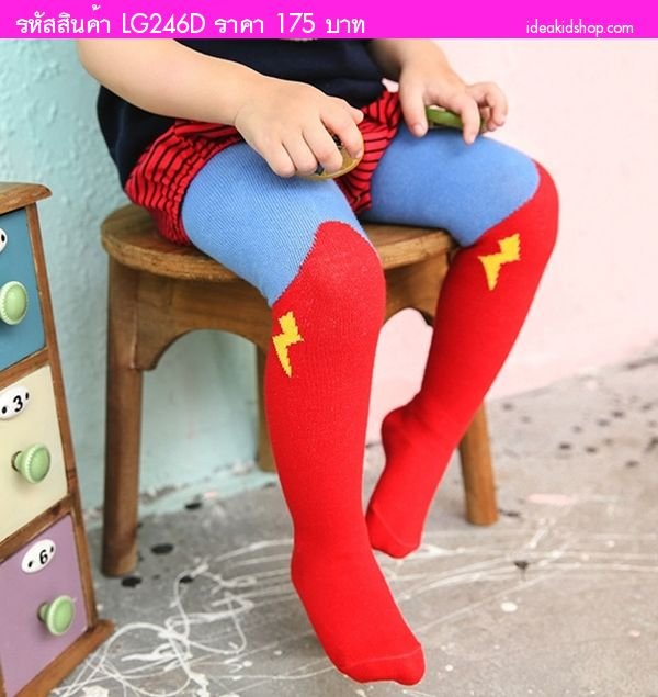กางเกงเลกกิ้งลองจอน ลายสายฟ้า สีแดงฟ้า