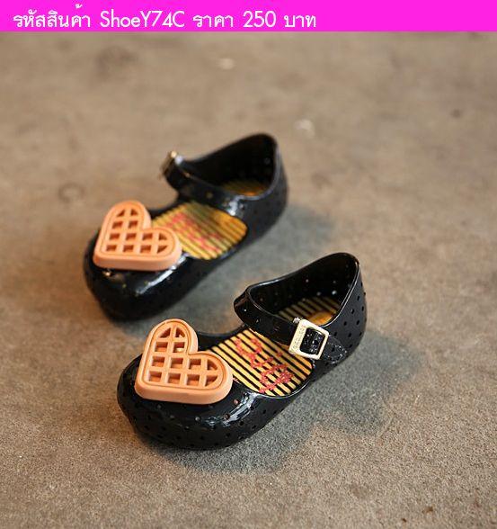 รองเท้าเด็ก หัวใจใหญ่ สไตล์ Mini Melissa สีดำ