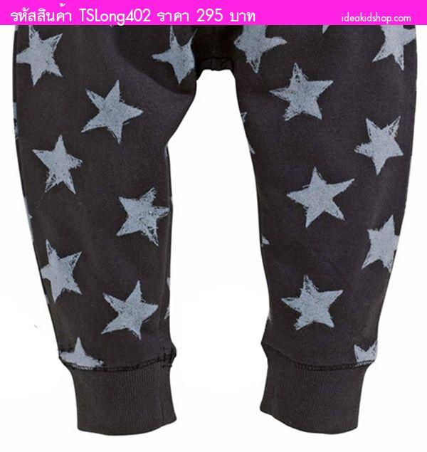 กางเกงวอร์มขายาวมีเชือกผูก Star Star สีดำ