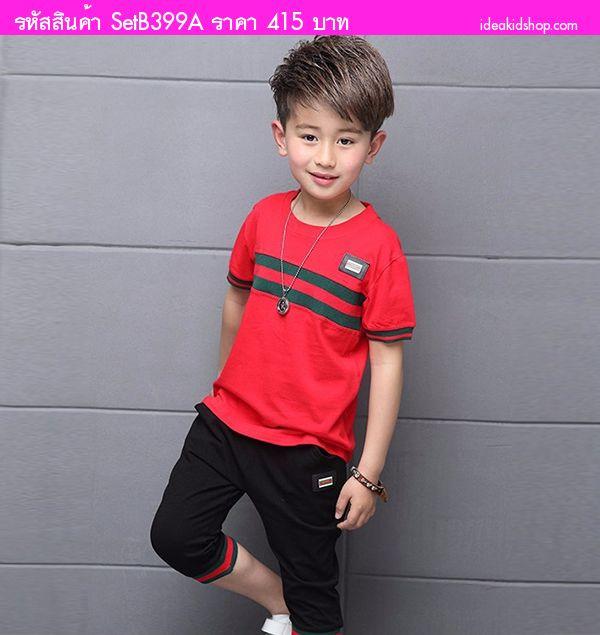 ชุดเสื้อกางเกงแฟชั่นสไตล์ GUCCI สีแดง