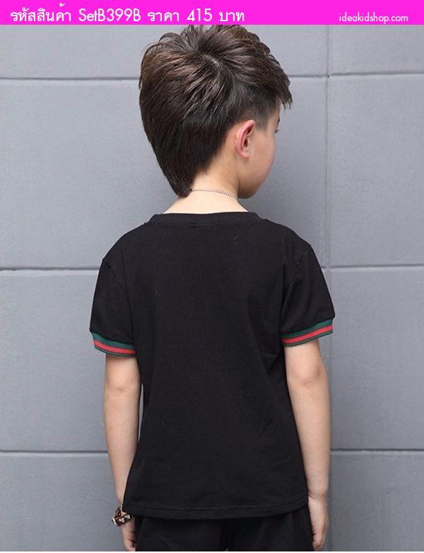 ชุดเสื้อกางเกงแฟชั่นสไตล์ GUCCI สีดำ