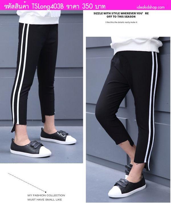 กางเกงวอร์มแถบข้างดีเทลปลายขาหน้าสั้นหลังยาว สีดำ