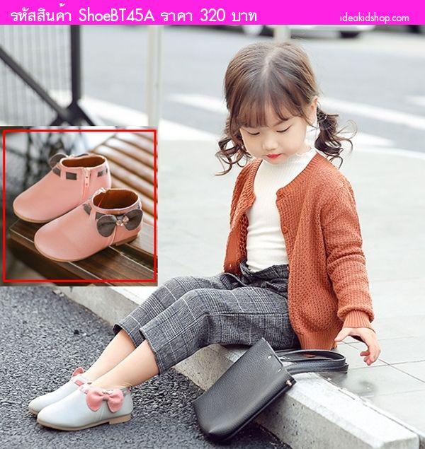รองเท้าบูทแบบสั้นหนูน้อยยูมิโกะ ติดโบว์ สีชมพู