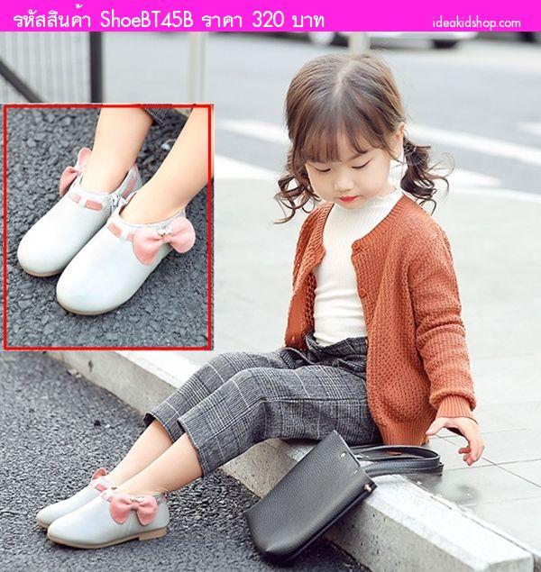 รองเท้าบูทแบบสั้นหนูน้อยยูมิโกะ ติดโบว์ สีเทา