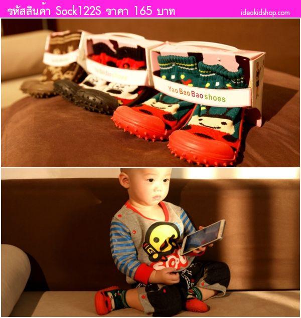 รองเท้าถุงเท้าแต่งเชือกผูก สีชมพู