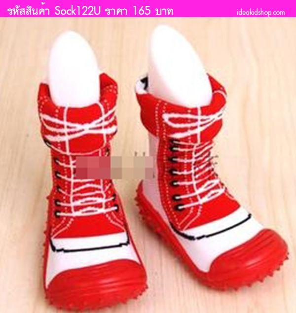 รองเท้าถุงเท้าแต่งเชือกผูก สีแดง