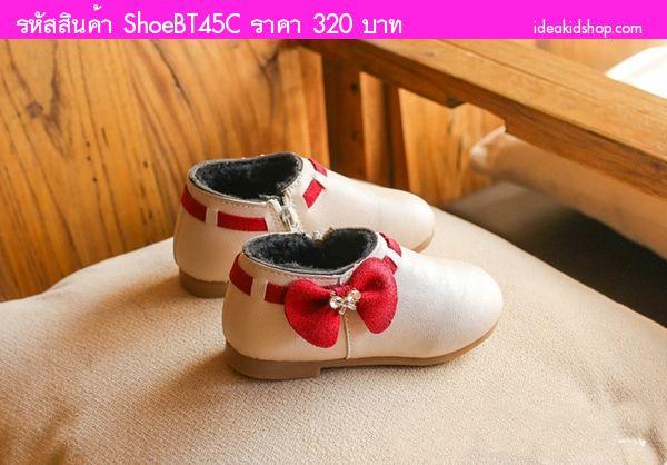 รองเท้าบูทแบบสั้นหนูน้อยยูมิโกะ ติดโบว์ สีขาวครีม