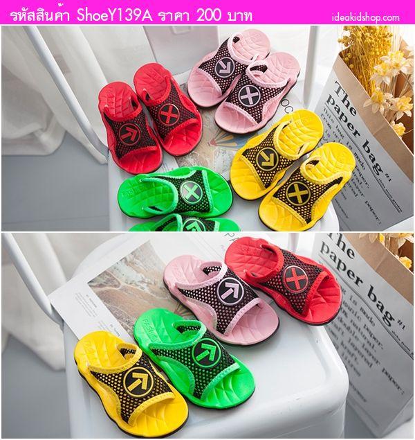 รองเท้าแตะแบบสวมสไตล์เกาหลี ลูกศรและตัว X สีชมพู