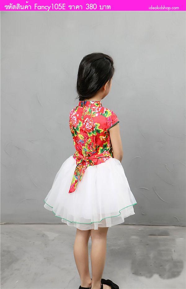 ชุดเดรสตรุษจีนอาหมวยยี่หวา ลายดอกไม้ สีแดง