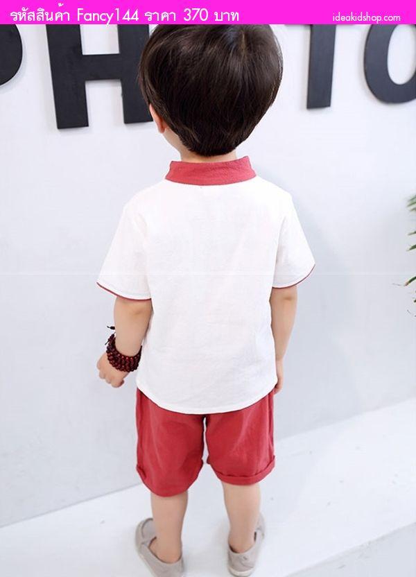 ชุดเสื้อกางเกงตรุษจีนอาตี๋คิม สีแดง