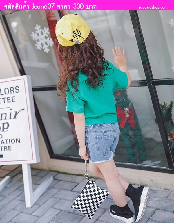 กางเกงยีนส์ขาสั้นหนูน้อยลิซ่า Fashion สียีนส์