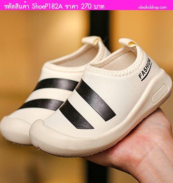 รองเท้าผ้าใบแต่งแถบคาด Fashion Sport สีครีมไข่